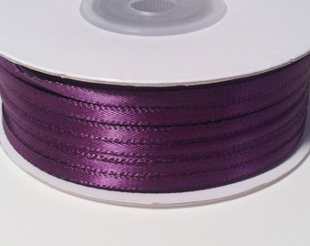 """1/8"""" and 1/16"""" Plum Double Face Satin Ribbon - 100 Yards"""