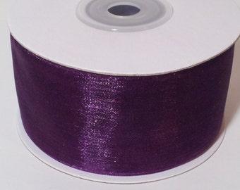 Sheer Organza Ribbon - Plum - 25 Yards