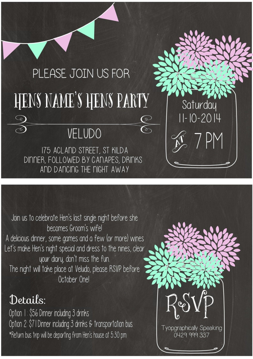 typographically speaking printable hens party invitation chalkboard