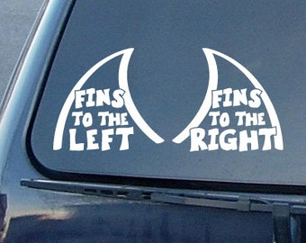 Jimmy Buffet fins to right fins to the left  decal  free shipping