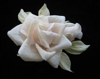Mulberry silk rose flower, Bud, light pink, women's hair clip brooch.Make to order