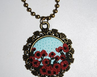 Poppy flowers vintage necklace polymer clay Fimo