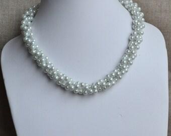 wedding  pearl necklace, pearl necklaces,wedding necklace,bridesmaids necklace, glass pearls necklaces, white pearl necklace,necklace