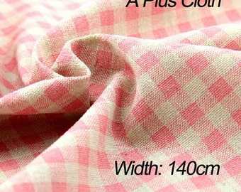 Plaid Linen Fabric By Yard,linen Cotton Fabric,pink Grid Fabric,chambray  Fabric