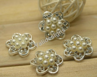 U Pick! 10pcs 18mm Pearl Rhinestone Flower Button Handmade Metal Bead Rhinestone Jewelry Accessories YTB47
