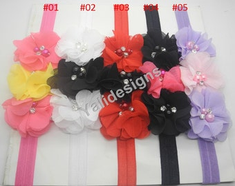 U Pick Wholesales 3 Chiffon Flowers Headband Baby Headbands. Pearl Newborns Headbands. Girl's Headband YTH29