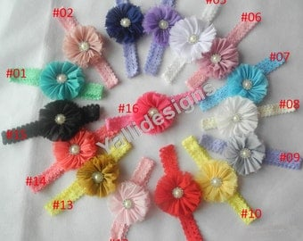 U Pick Wholesales Shabby Flower Headband Baby Headbands. Rhinestone Pearl Headband Vintage Newborns Headbands. Girl's Headband YTC05