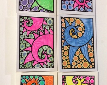 6 Funky handpainted/drawn blank cards