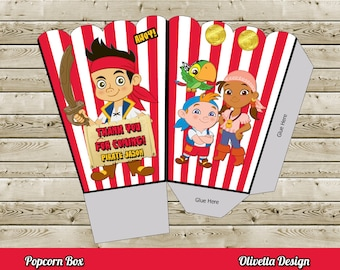 Jake and the Neverland Pirates Popcorn Box - with Custom Name - Digital File