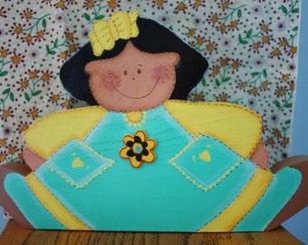 Doll, Shelf Sitter Doll, Wood Doll,Painted Wood Doll,Nursery Decor,Painted Wood Girl,Black Hair Doll Shelf Sitter,Girls Room Decor,Wood Doll
