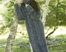 Tiffy Mohair Hand Knitted T- neck Sweater Dress Fuzzy Fluffy Thick Grey S M L  Made to order T61