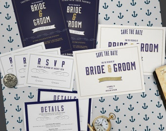 Nautical Wedding Invitation Set - CUSTOM, PRINTABLE