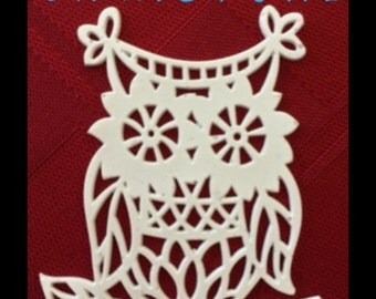 "12 Branch Owl Sugar Doilies 2"" Edible Tea or Coffee Doilies Wedding Reception Bridal Party Decoration Elegant Food Cake Gift"