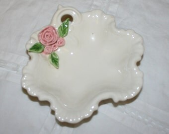 Ceramic candy dish white with pink roses. Ca 1970's.