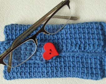Eye glasses- hand crochet case in a Tunisian crochet stitch embellished with a bright button closure