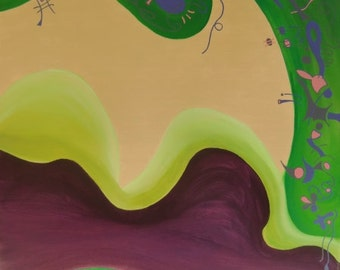 Akrylbild, an abstract image, green, purple