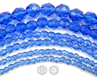 8mm (51pcs) Sapphire, Czech Fire Polished Round Faceted Glass Beads, 16 inch strand
