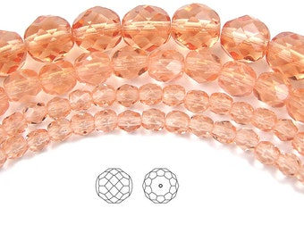 8mm (51pcs) Light Peach, Czech Fire Polished Round Faceted Glass Beads, 16 inch strand