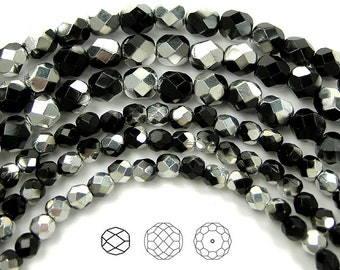 4mm (102pcs) Jet Labrador CAL Half coated, Czech Fire Polished Round Faceted Glass Beads, 16 inch strand