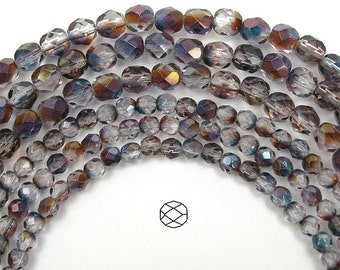 4mm (102pcs) Crystal Heather Luster, Czech Fire Polished Round Faceted Glass Beads, 16 inch strand