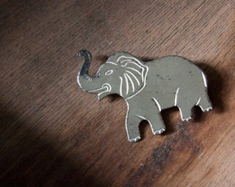 Vintage Sterling Silver Elephant Brooch