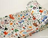 "Fox Fabric - Bear Fabric - 43"" x 35"" - 100% Cotton - Fox Pattern - Bear Pattern - KoreaBacol [#H0008]"