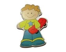 Skater Boy, wood applique, decorative boys applique, red skate, blue and yellow boy, craft supplies