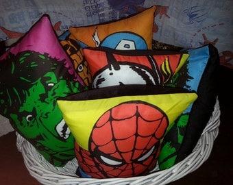 Superhero cushion. Up-Cycled & Handmade. Insert Included. Spiderman Hulk Captian America Wolverine Thor.