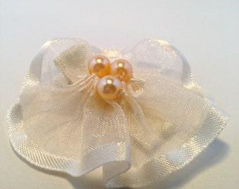 Champagne Organza Hair Clip w/ Pearls