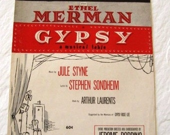 Vintage sheet Music - Ethel Merman - A musical fable featuring a movie score from 1959
