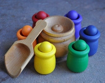 Rainbow Sorting Cups - A Waldorf and Montessori Inspired Educational Toy