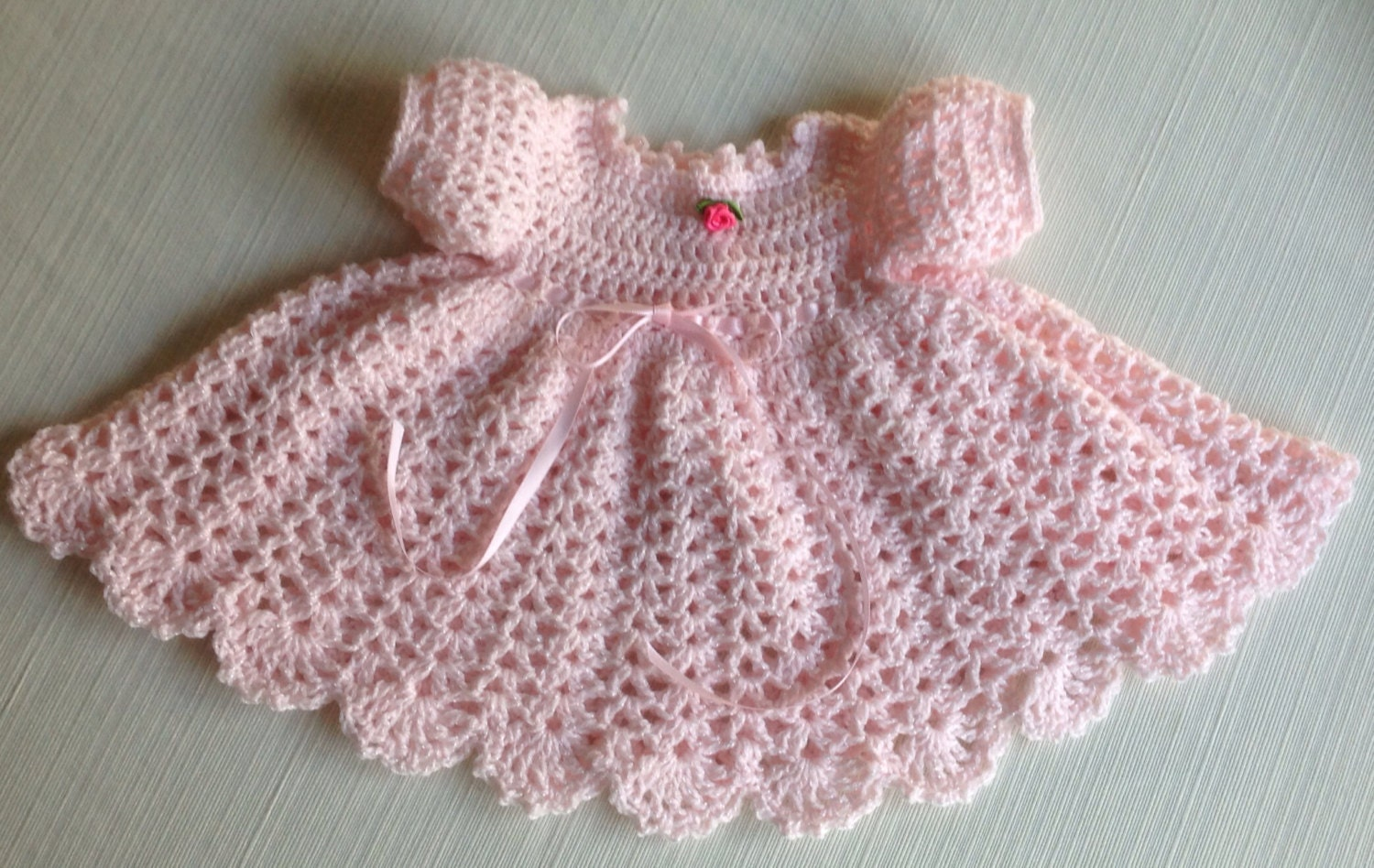 Crochet Baby Outfit Patterns : Newborn Crochet Baby Dress MARY PATTERN Updated Long sleeves