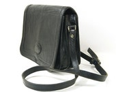 Black Leather Purse | Vintage Envelope Messenger Bag | Black Cross Body Handbag | Crossbody