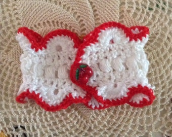 """OOAK, Sweet, Red & White Hand Crocheted 7"""" Cuff Bracelet with Vintage, Georgeous Realistic Glass Cherry Button"""