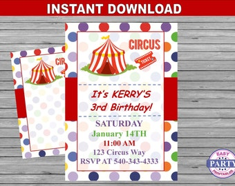Circus Party Invitation, Instant download, red and blue dots, carnival invitation, digital download, circus party, circus invitation, DIY