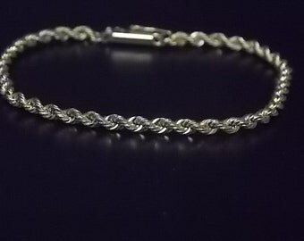 Vintage Estate 14K Yellow Gold Rope Chain Bracelet 5.44g #E817