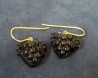 Woman's Vintage Estate 14K Yellow Gold Earrings W/ Grape Cluster Design, 2.0g E1355