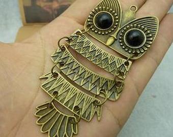 5pcs 42x95mm Antique Bronze Lovely Huge Owl Charm Pendant C3220