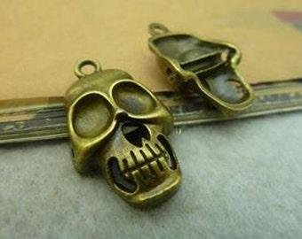 10pcs 18x30mm Antique Bronze Lovely Skull Head Charm Pendant C3517-9