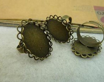 20pcs Antique Bronze Metal Adjustable Lace Ring Base with 18x25mm Pad Cameo Setting.c4057