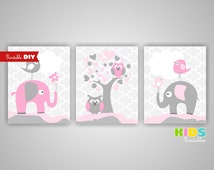 Printable DIY Girl Nursery Art Prints, Pink, Grey, Elephant, Tree, Birds, Set of 3 8x10 JPG files ( 010stpg )