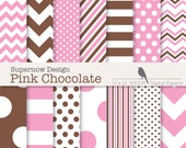 """40% OFF SALE Pink and Brown Digital Paper Pack. Scrapbooking.  """"Pink Chocolate"""". Mixed Chevrons, Polka Dots, Stripes"""