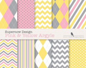 """FREE COMMERICAL use Argyle Digital Papers """"Pink, Grey & Yellow Argyle"""" Golf, Chevron, Stripe, 12 x 12 and 8.5 x 11"""