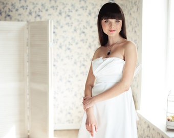 ON SALE Empire silhouette short wedding dress, Strapless Short Wedding Dress M8, Romantic wedding gown, Classic bridal dress, Custom dress