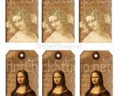 Da Vinci Hang Tags Printable Digital Collage Sheet