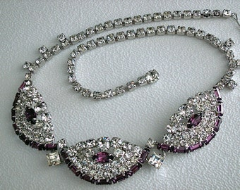 Vintage Purple & Rhinestone Necklace * Unique design * Unsigned Weiss * Wedding, Holidays, Party, Evening, Dance, Celebration
