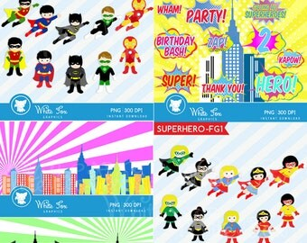 50% OFF SALE Super Hero Clipart / 4 Set Combo / Personal and Commercial Use /  Superheroes Clip Art / Item Number: Superhero-CS2