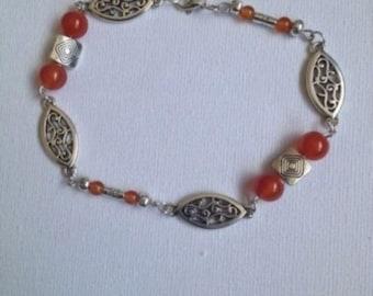 Orange Agate beads and Tibetan silver Bracelet