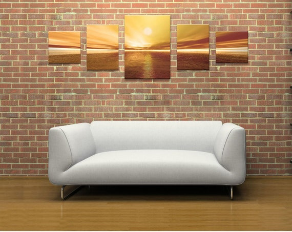 Sunset Amazing Canvas Wall Art Print 5 Stars Gift Startonight Brown Set of 5  Home and Kitchen Decor