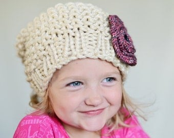 Slouchy Beanie Hat with Flower